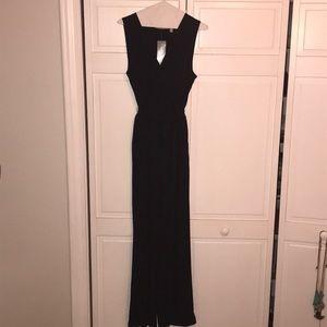 NY Collection Black V-Neck Jumpsuit